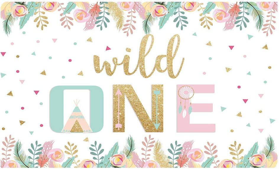 Funnytree 5x3FT Boho Wild One Party Backdrop Tribal Teepee Tent Indian Arrows Dreamcatcher Flower Photography Background Baby Shower Birthday Decor Banner Supplies Selfie Photobooth Prop