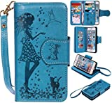 Appliances : UNEXTATI iPhone 6 6S Case, Flip Stand Leather Case Wallet Cover with Card Multi-Slots for Apple iPhone 6 / iPhone 6S (P5 Blue)