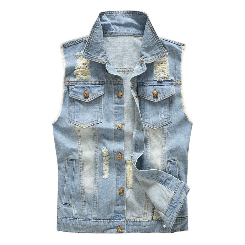Allywit-Mens Sleeveless Retro Denim Vest Casual Slim Fit Button Down Jeans Vests Jacket Plus Size Blue