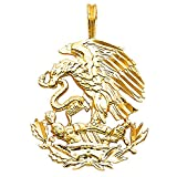 Wellingsale 14K Yellow Gold Polished Diamond Cut Ornate Mexican Eagle Pendant