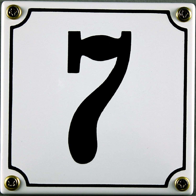 BlechschilderWelt Numero civico 7 Colore: Bianco//Nero in Metallo 12 x 12 cm smaltato
