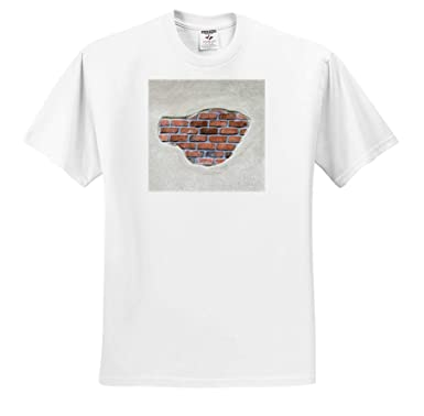 ts/_318990 3dRose Jos Fauxtographee- Brick in Wall A cr/ème Colored Wall That has Faux red Brick in it Adult T-Shirt XL