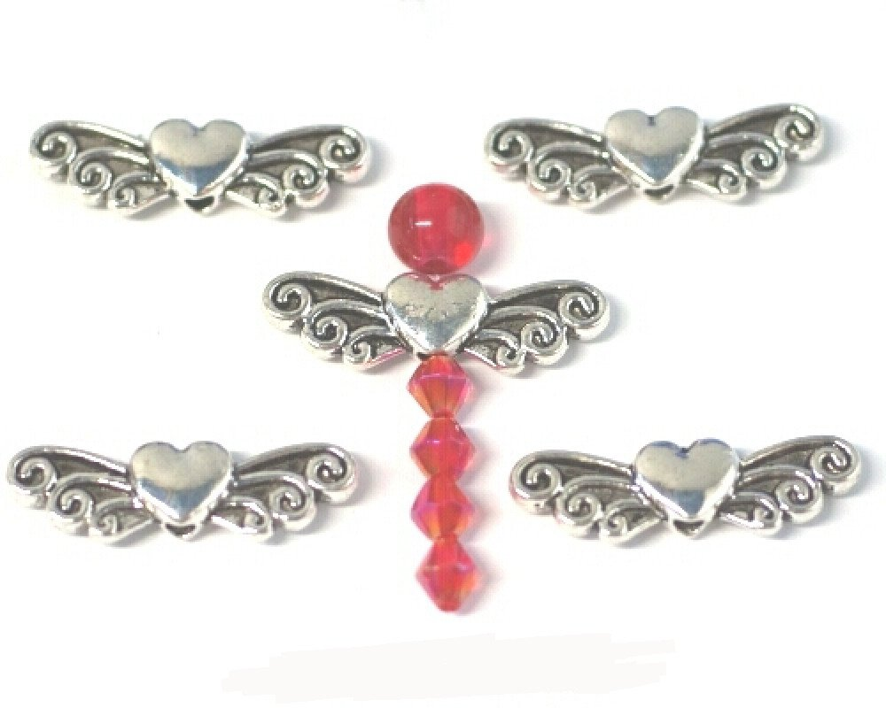 10 x Large Antique Silver Plated Angel Wing Heart Bead Charms. Universal use for Jewellery, Card Making and Scrap-booking. Check out our Fantastic wide range of Beads, Charms and Findings (Ref:10A55) Just Say Beads