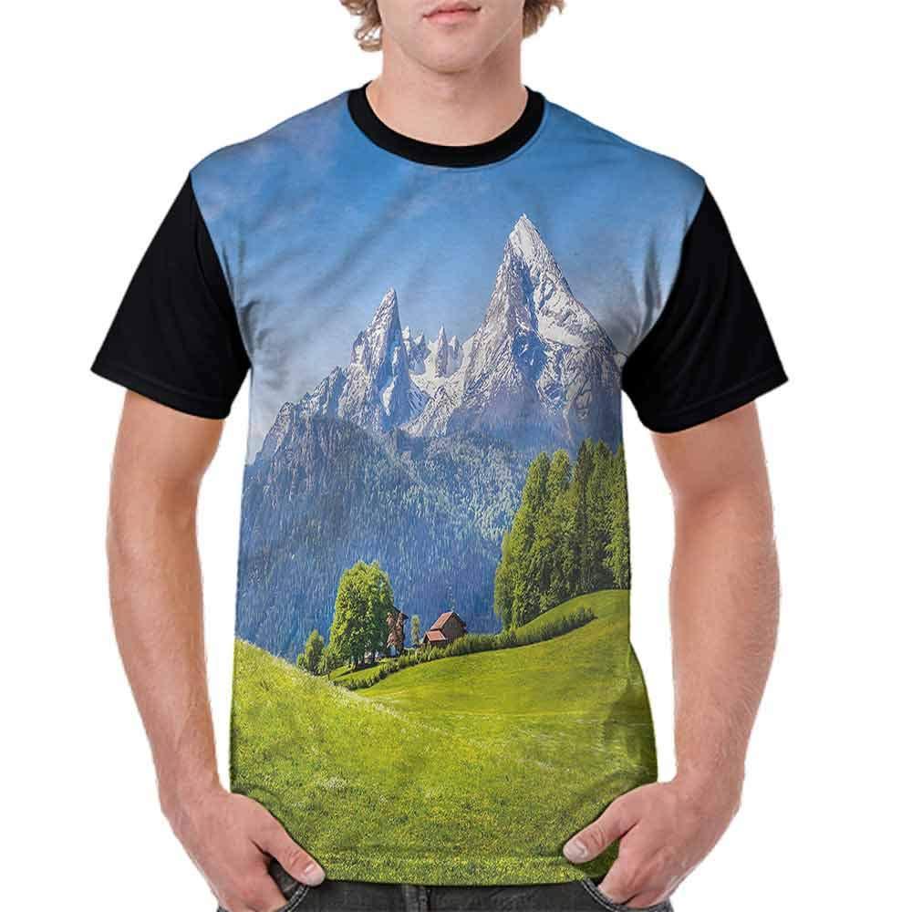 Printed T-Shirt,Fresh Meadow Alp Mountains Fashion Personality Customization