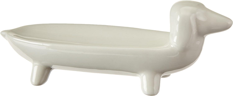 Creative Co-op White Ceramic Dog Ring Dish, 5.5 L x 1.75 W