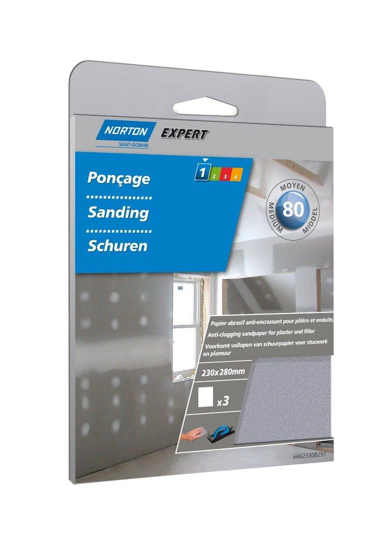 Norton Lot de 3 Feuilles 230 x 280 mm papier anti-encrassant Grain 80 66623308297