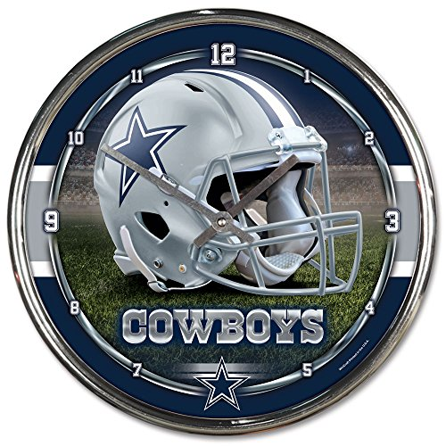 Nfl Football Team Chrome Wall Clock , Dallas Cowboys , 12-Inch