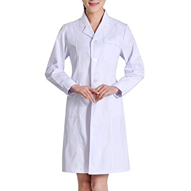 Sasairy Mujer Bata Médico de Poliéster Manga Larga + Pantalones Médicos con Banda Elástica Bata de Laboratorio Enfermera Sanitaria de Trabajo para Médicos ...