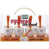 Joie Eggy Set De 4 Hueveras Y Cucharas Plástico, Blanco/Naranja