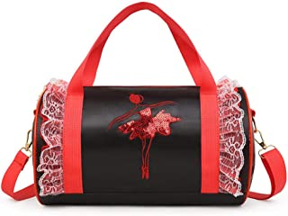 diuspeed bambini borsa a tracolla, ragazza Latin Dance Bag Borsa per bambini balletto Cross Body danza Bag, Nero