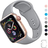 WFEAGL コンパチブル iWatch アップルウォッチ バンド アップルウォッチバンド スポーツバンド 交換ベルト 柔らかいシリコン素材 耐衝撃 防汗 apple watch series 4/3/2/1に対応 (38mm 40mm(M-L), グレー)