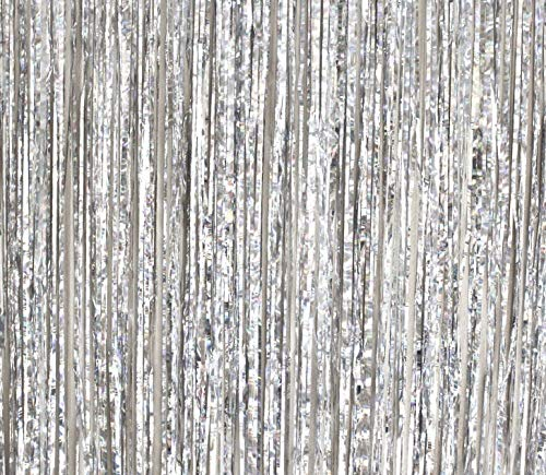 Mikash 2 Pack - by - Foil Fringe Curtain Photo Booth Backdrop Party Tion - 3FT x 8FT (Silver Metallic Sparkle) Perfect for Bachelorette, Birthday and Wedding Parties | | - Supplies Birthday 2 Party Rio