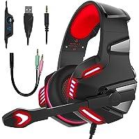 Dasking Cascos Gaming, Audífono Gamer con Micrófono para PS4 XBOX ONE PC Auricular de Diadema para Juegos con LED Luz…