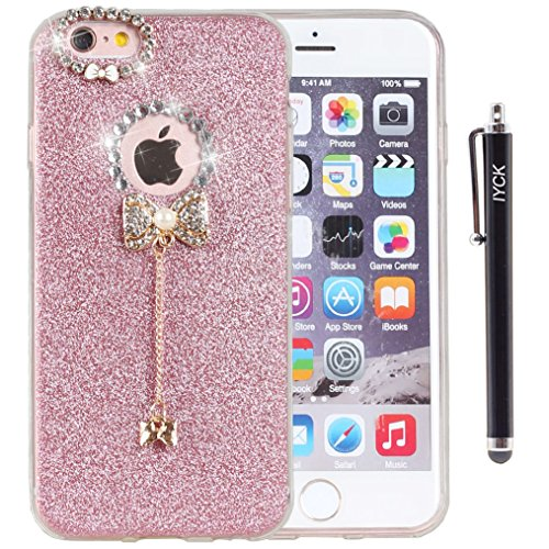 (iPhone SE Case, iPhone 5S Case, iYCK 3D Handmade Cute Luxury Diamond Rhinestone Hybrid Glitter Bling Shiny TPU Soft Rubber Cover with Sparkly Bow Knot Crystal Pendent Charms for iPhone 5/5S/SE - Pink)
