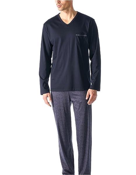 Conjunto de pijama modo nocturno Mey hombres pijamas largos Hombres Ornament S-XXL - Indigo