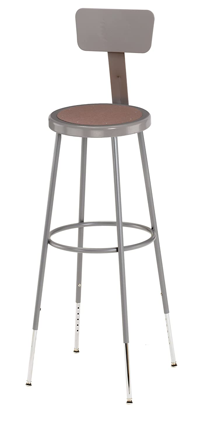 "National Public Seating 6230HB Grey Steel Stool with Hardboard Seat Adjustable and Backrest, 31""-39"""