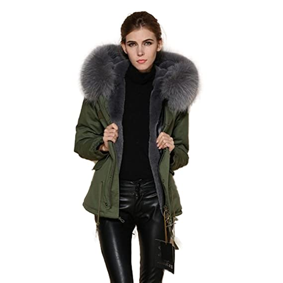 Lea Marie Damen Parka XXL Kragen aus 100% ECHTPELZ ECHTFELL Jacke Mantel KURZ Khaki 9 Farben
