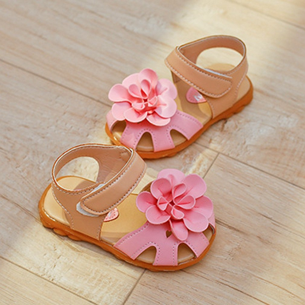 Toddler//Little Kid CYBLING Girls Summer Sandals Soft Closed Toe Solid Flower Princess Flat Shoes