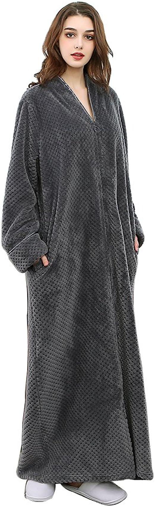 ZFSOCK Damen Morgenmantel Extra Lang Flauschig mit Kapuze Bademantel Pl/üsch Shaggy Flanell Microfaser Fleece Winter Cozy Warm Weich Bodenlang Loungewear