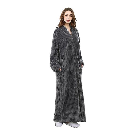 9973949224d Oksun Womens Plus Size Fleece Dressing Gown Soft Bathrobe Full Length with  Zipper  Amazon.co.uk  Clothing