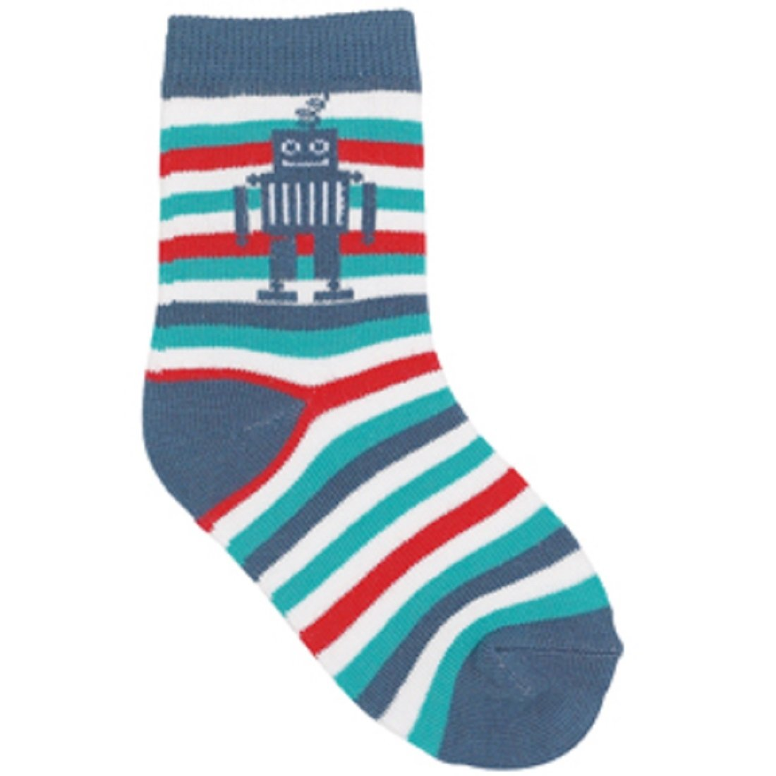 Country Kids Toddler 1 prs BLUE ROBOT STRIPES Socks 1-2 yrs