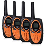 FLOUREON M-880 4 x Walkie-Talkies (Pantalla LCD, 8 Canales, 2-Way Radio, alcance hasta 3 km), naranja