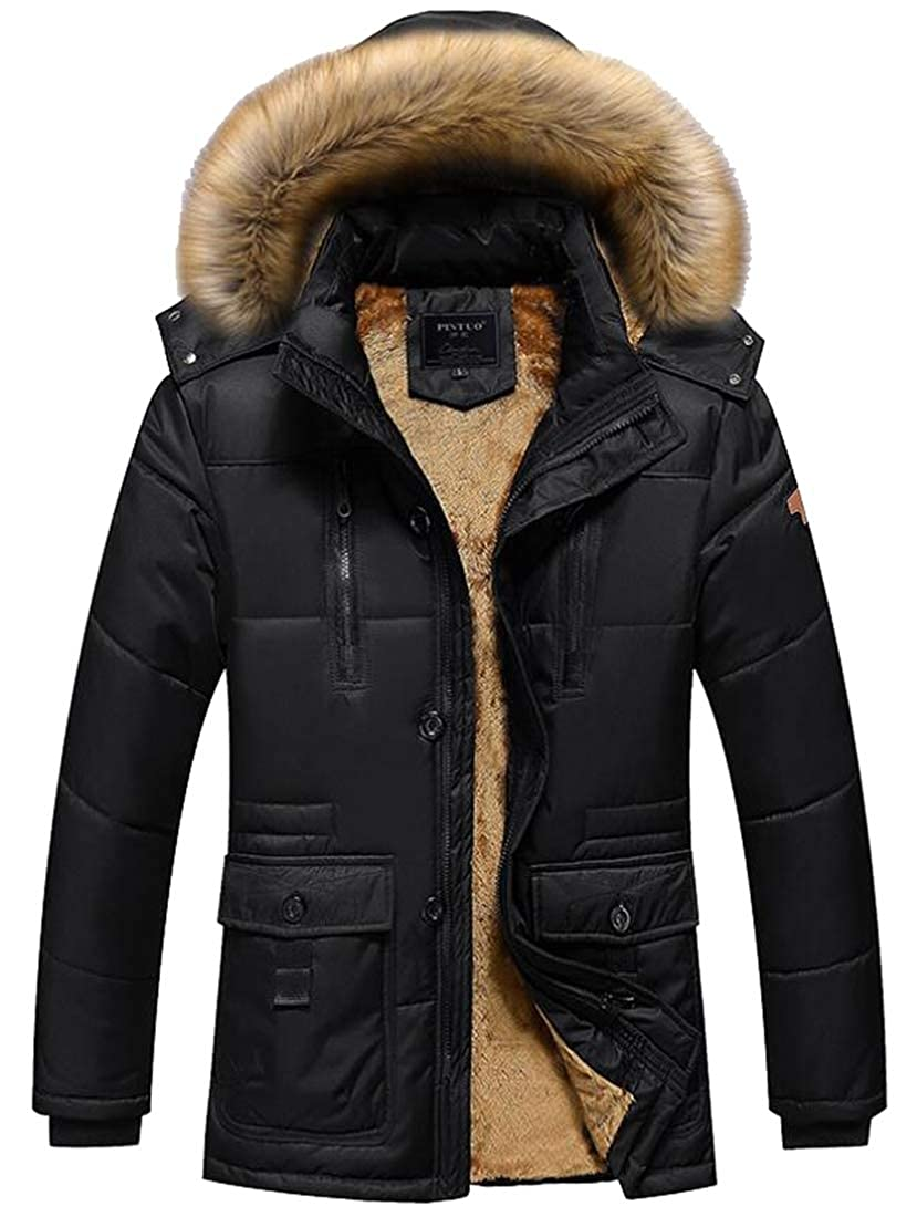 ouxiuli Mens Mid-Length Warm Thickened Down Coat Hooded Winter Warm Cotton Jacket