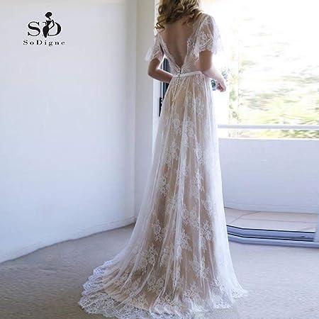 CoCogirls Vestido de novia, romántico bohemio, con agujero para llaves, vestido de novia con gorra, vestido lleno de encaje, vintage, vestido de boda para la novia