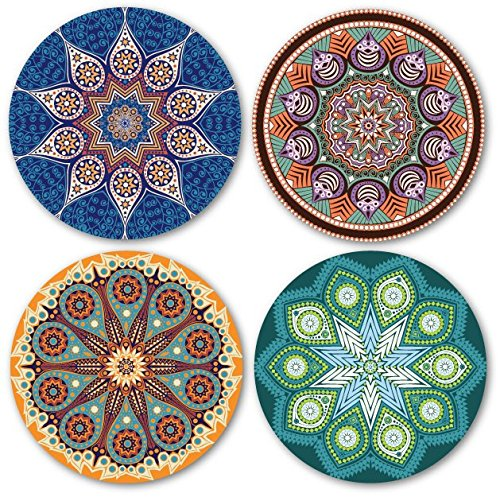 Coastero absorbent stone drink coasters mandala import it all - Drink coasters absorbent ...