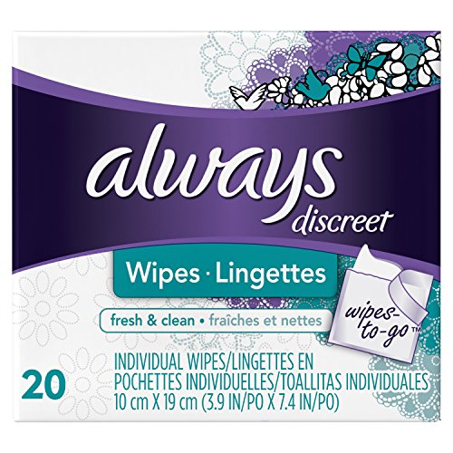 Always Discreet Wipes Fresh & Clean Wipes-to-Go 20 count- Packing may vary