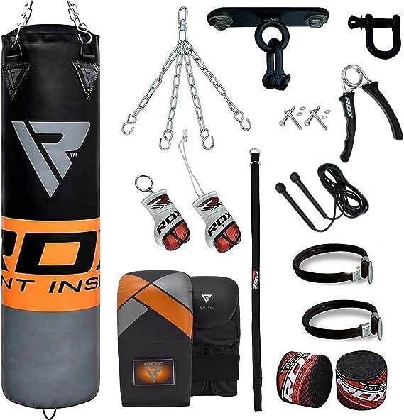 RDX Saco de Boxeo Relleno MMA Muay Thai Kick Boxing Artes Marciales con Soporte Techo Guantes Cadena 13PC 4FT 5FT Punching Bag