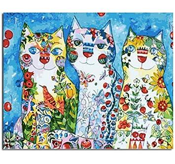 Pintura por números, Colorido gato pintura al óleo por números lienzo diy pintura al óleo decoración para el hogar decoración del hogar enmarcado 40x50cm: ...