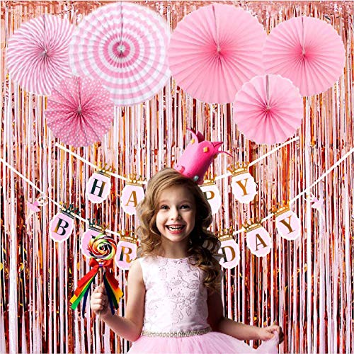 MOCCAMODE 2 Pack Rose Gold Foil Fringe Curtains for Party Photo Booth Backdrop, Rose Gold Metallic Fringe Party Decoration and Pink Ballet Crown Birthday Banner With 6pcs Tissue Paper Fans (21 PCS) -
