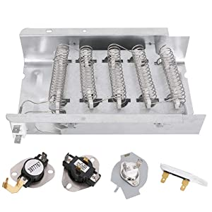 279838 Dryer Heating Element 3387134 3977767 3977393 3392519 Thermal Fuse Cutoff Kit 5400W 240V for Whirlpool Kenmore KitchenAid Maytag Replaces 3403585 8565582 3398064 3403585 AP3094254 W10724237