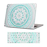 iCasso MacBook Pro 13 Case 2018 2017 2016 Release A1989/A1706/A1708,Rubber Coated Shell Cover & Keyboard Cover Compatible Newest Mac Pro 13'' Model with/Without Touch Bar&Touch ID -Blue White Medallion