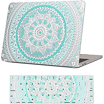 """iCasso Macbook New Pro 13 Case 2017 and 2016 Release A1706/A1708 With Keyboard Cover Rubber Coated Shell Cover For Macbook Pro 13"""" Model With/Without Touch Bar and Touch ID - Blue&White Medallion"""