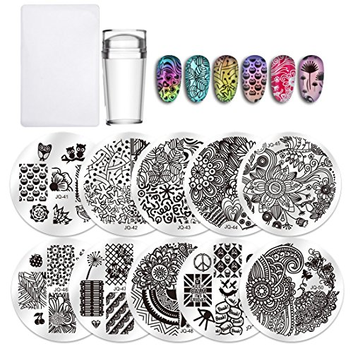 ates Clear Jelly Silicone Nail Art Stamper Scraper with Cap Stamping Template Image Plates Nail Stamp Plate Tool ()