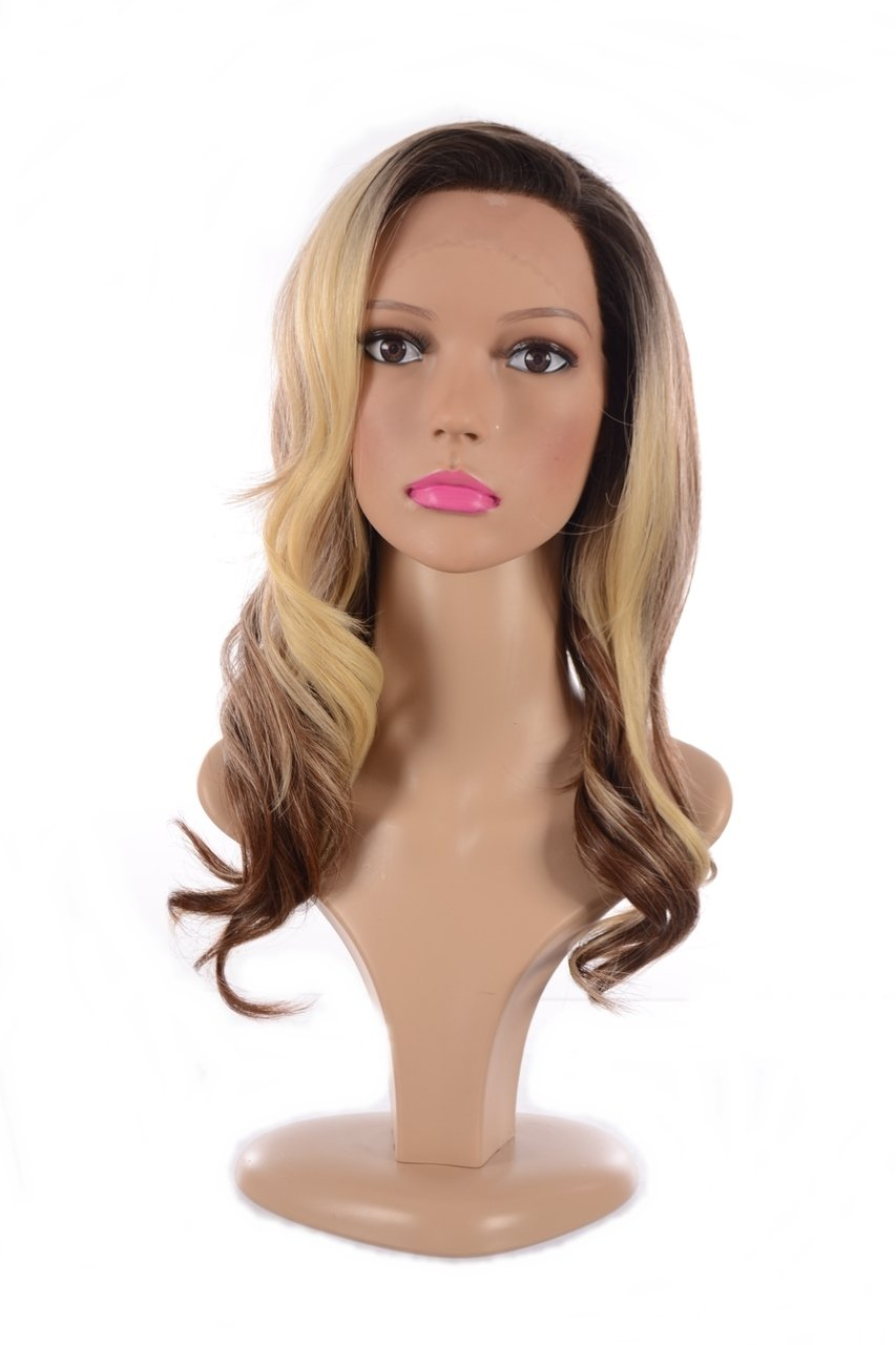 Amazon.com : Long Wavy Human Hair Blend Lace Front Wig | Tri Tone ...