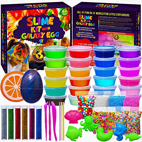 EXPLORER'S CHOICE Slime Kit for Girls Boys - DIY Big Slime Kit 3.55 pounds - 24 Color Clear Slime Containers - Super Fun Toys for Girls and Boys - Slime Kits Supplies with Foam Beads and Galaxy Egg