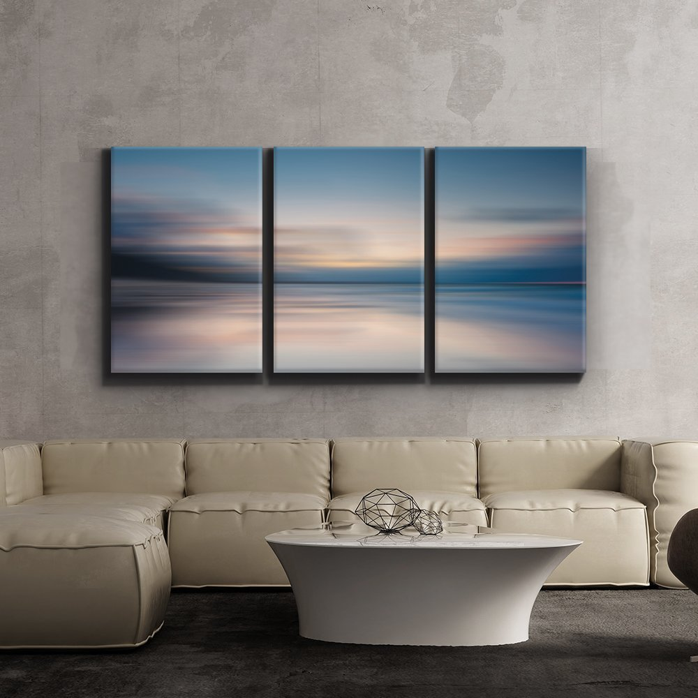 Wall26-Contemporary Art, Modern Wall Decor - Sunrise golden hour lake setting abstract - Giclee Artwork - Gallery Wrapped Wood Stretcher Bars -24''x36'' x 3 Panels