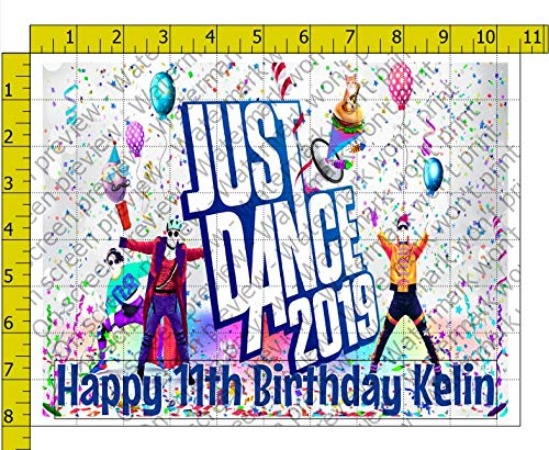 Just Dance 2019 Personalized Birthday Edible Frosting Image 1/4 sheet Cake Topper