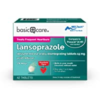 Amazon Basic Care Lansoprazole Delayed Release Orally Disintegrating Tablets 15 mg, Acid Reducer, Strawberry Flavor, 42 Count