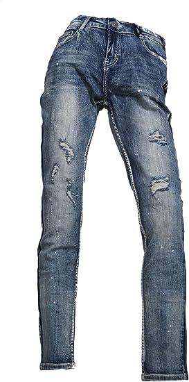 メンズ サイド フェイクライン 切替 パンツ デニム V011031-03