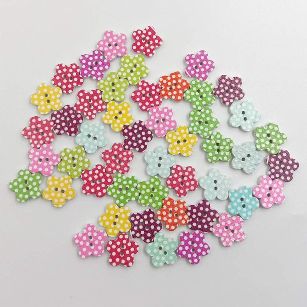 HEALLILY 200 Piezas 2 Agujeros Botones de Pintura de Madera DIY Coloridos Botones Artesanales para Coser Proyectos de Manualidades Suministro de /Álbum de Recortes Color Mixto