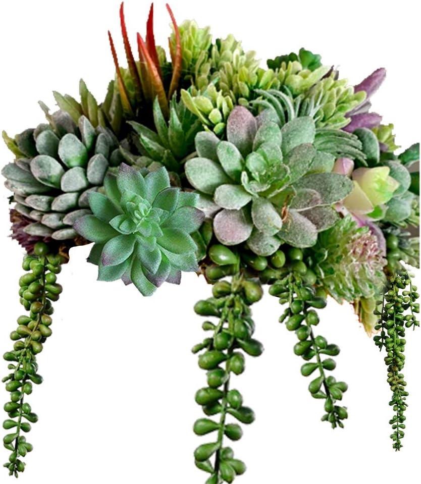 11 Pack Artificial Succulent Flocked Plant Fake Unpotted Landscape Home Decor