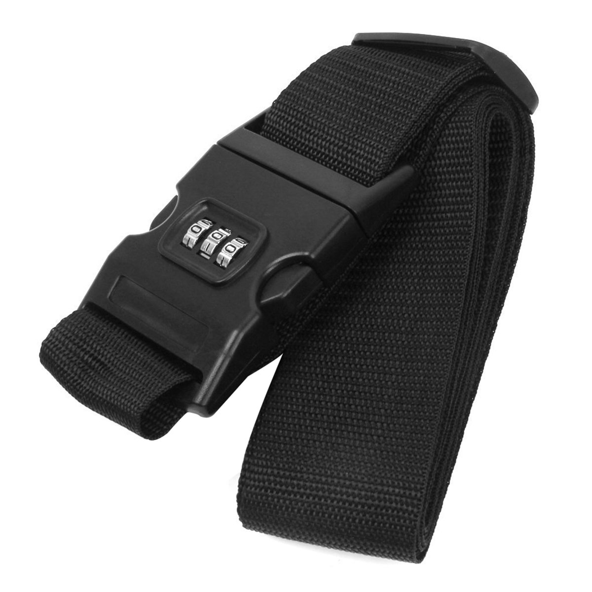TINKSKY Travel Luggage Packing Belt Suitcase Box Strap Luggage Safety Strap with Combination Lock (Black)