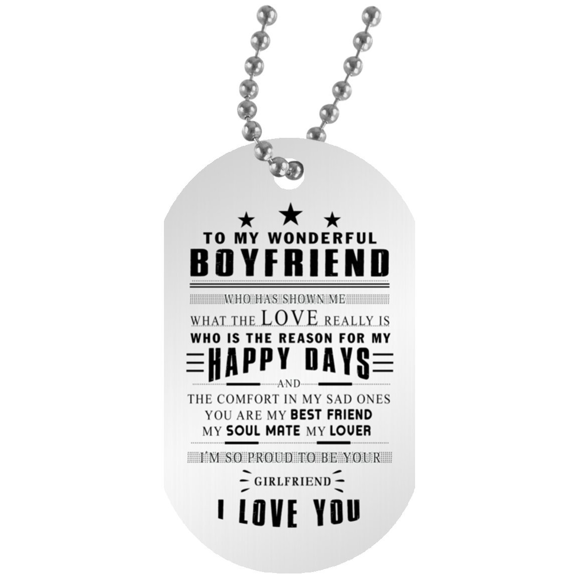 AZ Gift Plus Perfect Birthday Gifts Dog Tag For My Wonderful Boyfriend PERFECT LOVE And Girlfriend Necklace Chain Man Valentines From