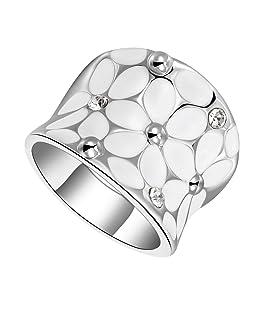 Bague Femme Fleurs Blanches Strass Cristal Elégant Mode Couleur d'Argent - 54
