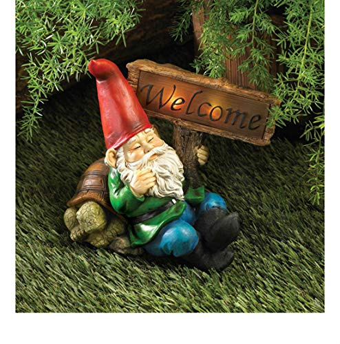 Welcome Home Sign Outdoor Garden GNOME Statue Lantern LED Path Solar Light lamp