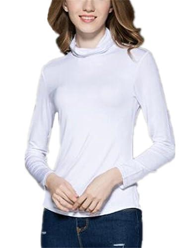 Gogofuture Tshirt Manga Larga Mujeres Collar Del Montones Ocasionales Color SÓLido Camisetas Camisa Blusa Elegantes Tops